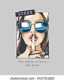typography slogan with comic cartoon girl in sunglasses shh gesture illustration
