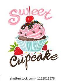 typography slogan with cupcake illustration