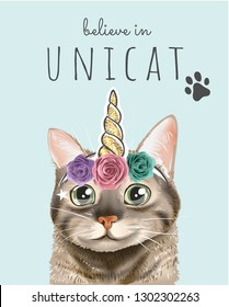typography slogan with cute cat in unicorn horn illustration