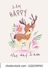 typography slogan with deer in the garden illustration
