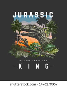 typography slogan with dinosaur in wild forest illustration