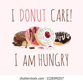 typography slogan with donuts illustation