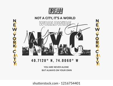 ์NYC typography slogan for fashion print