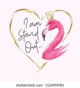 typography slogan with flamingo illustration in heart shape