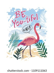 typography slogan with flamingo on the beach illustration