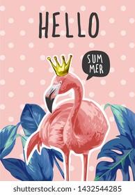 typography slogan with flamingo and palm leaf illustration on polka dot background