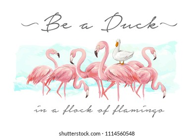 typography slogan with flock of flamingo and duck illustration