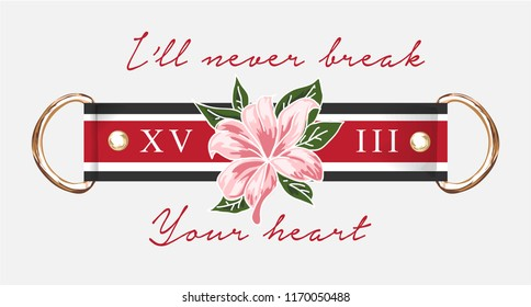 typography slogan with flower
