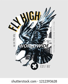 typography slogan with flying crow illustration