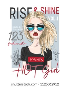 typography slogan with girl cover illustration
