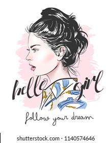 typography slogan with girl illustration