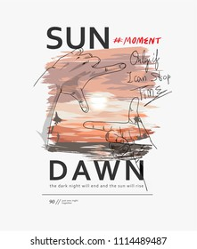 typography slogan with hand frame on sunset view illustration