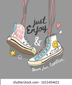 typography slogan with hanging colorful sneaker illustration