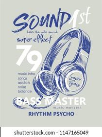 typography slogan with headphone illustration