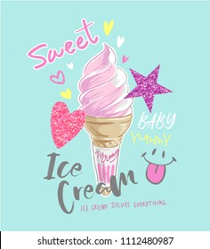 typography slogan with ice cream and glitter icons illustration
