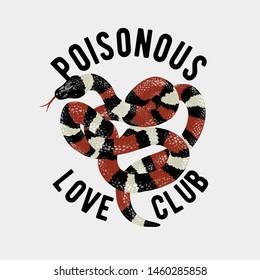 typography slogan with king snake illustration