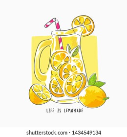 typography slogan with lemonade cartoon illustration