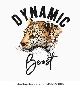 typography slogan with leopard brush stroke graphic illustration