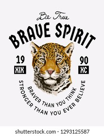 typography slogan with leopard head illustration