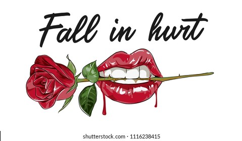 typography slogan with lip and rose illustration