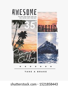 typography slogan with natural exotic background