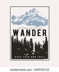 typography slogan on alpine mountain background
