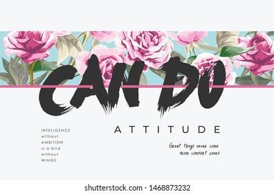 typography slogan on flower pattern stripe background illustration