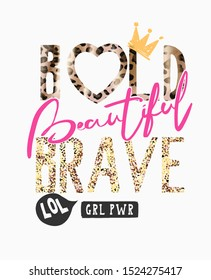 typography slogan on leopard pattern and gold glitters for fashion print
