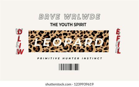typography slogan on leopard skin background