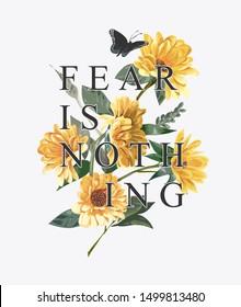 typography slogan on sunflower background