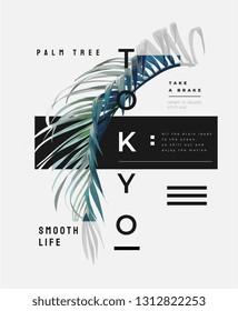typography slogan with palm leaf illustration