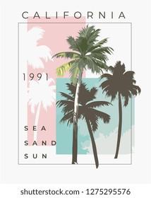 typography slogan with palm tree illustration