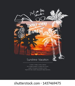 typography slogan with palm tree illustration on sunset blackground