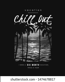 typography slogan with palm tree shadow on sunset and ocean background