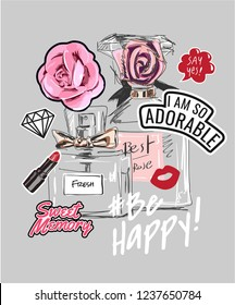 typography slogan with perfume and girly icons illustration