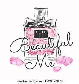 typography slogan with perfume and rose petals illustration