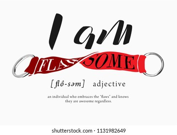 typography slogan with red twisted ribbon flaw-some illustration