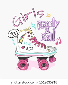 typography slogan with roller skate and cute icons illustration