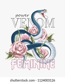 typography slogan with roses and snake illustration
