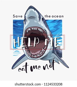 typography slogan with shark illustration