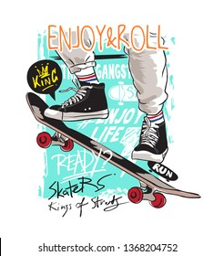 typography slogan with skateboard player jumping illustration