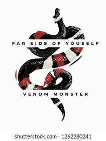 typography slogan with snake graphic illustration