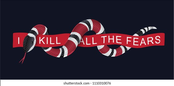 typography slogan with snake wraps around the red ribbon illustration