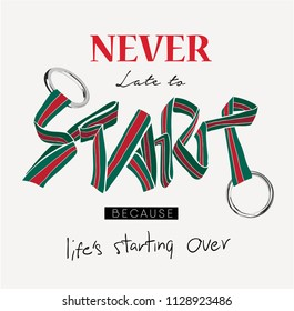 typography slogan  with stripe ribbon and metal ring illustration