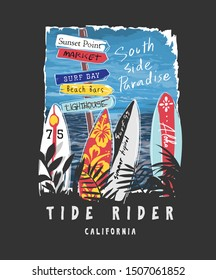 typography slogan with surfboards and beach signs illustration