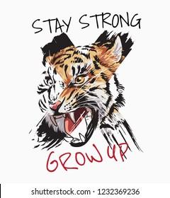 Typography slogan with tiger head graphic illustration