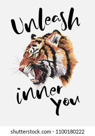 typography slogan with tiger head illustration