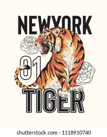 typography slogan with tiger illustration