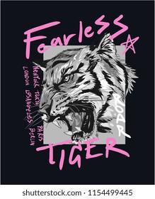 typography slogan with tiger illustration