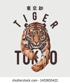 typography slogan with tiger illustration, Japanese word for Tokyo